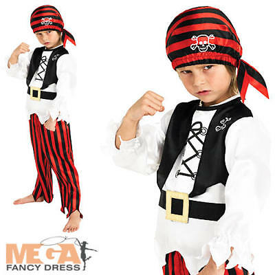 Pirate Boy + Hat  Kids Fancy Dress Child Boys Costume Ages 3 4 5 6 7 8 Years