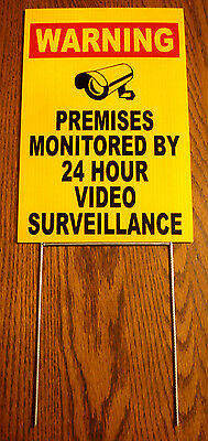 WARNING PREMISES MONITORED 24 HOUR VIDEO SURVEILLANCE  SIGN 8x12  w/Stake   NEW