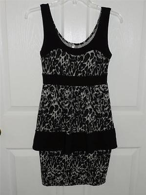 Women's BLU HEAVEN Snow Leopard Print & Black Sleeveless Dress Size Small