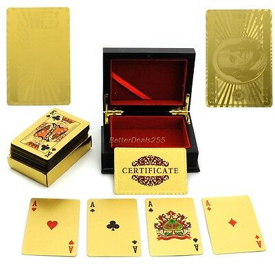 24K GOLD PLATED PLAYING CARDS PLASTIC 52 POKER DECK 99.9% PURE W/ CoA + BOX B20E