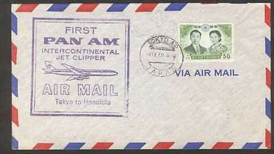 Japan To Hawaii First Flight By Pan Am Clipper Cover 1959 L@@K