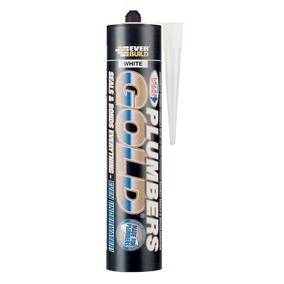 Everbuild Plumbers Gold Steritouch Sealant Adhesive White No Mould Silicone Seal