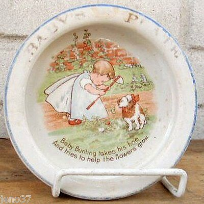Rare & Adorable Antique Baby Bunting Dish Wonderful Verse for Gardeners
