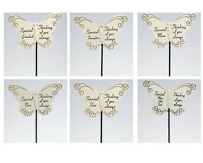 Resin Butterfly Graveside Crematorium Memorial Remembrance Stick- Choice of Name