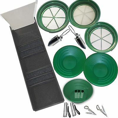 COMPLETE GOLD PAN PANNING KIT - Sluice Box  Classifiers  Pans  Tweezers  Vials