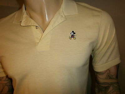 vtg MICKEY MOUSE POLO SHIRT Embroidered 80s Disney World Land YELLOW Soft
