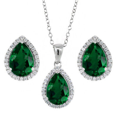 6.00 Ct 10x7mm Simulated Emerald Pear Shape Pendant Earrings Silver Set