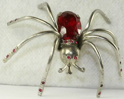 VTG 1930'S ART DECO RED GLASS RHINESTONE SPIDER PIN silver color
