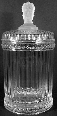 """Imperial Metropolitan Museum Art Clear Crystal Three Face Pattern 9.5""""t Humidor"""
