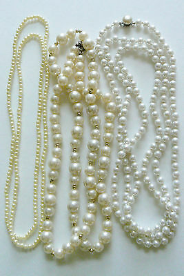 Lot of 3 VTG Fashion Beaded Strands Necklaces White Pearl Faux xlong Japan