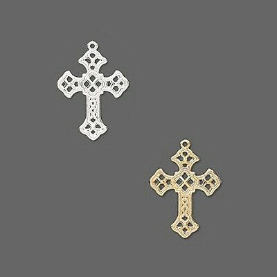 Lot of 50 Big 1 inch Fancy Filigree Cross Drop Charms W/Loop Plated Brass Metal