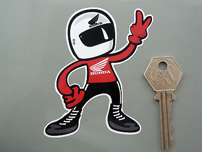 HONDA Full Face Helmet Rider 2 Fingered Salute STICKER Motorcycle Bike Racing