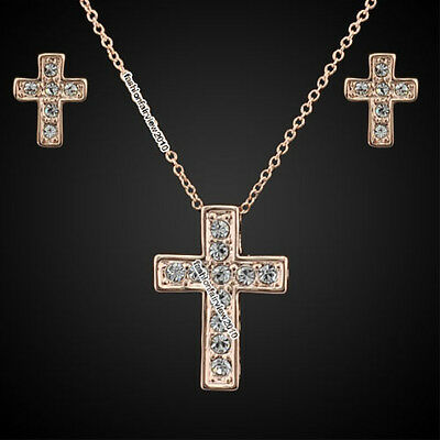 Rose Gold GP Clear Crystal Latin Cross Earrings Necklace Jewelry Set IT056B