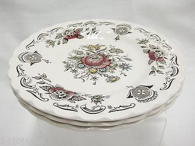 """Vintage Myotts Bouquet 3 Bread & Butter Plates 6"""" Good Condition Staffordshire"""
