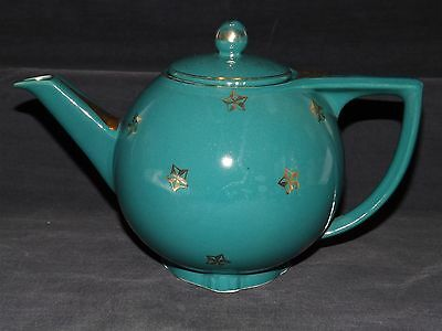 Hall USA 6 cup Teapot -Green with Gold Stars