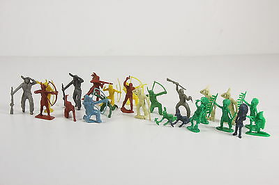 24 Total Toy Plastic Vtg Indian Figures Wild West Action 2 Sizes Various Colors