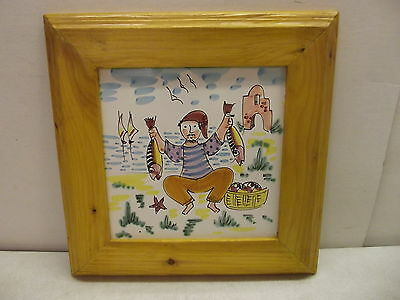 Vintage Hand Painted Ceramic Pottery Tile Made In Italy