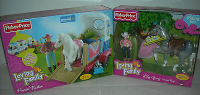 New Fisher Price Loving Family Lily Gray Western Pony & Horse Trailer