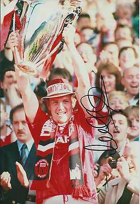 Lee Sharpe SIGNED AUTOGRAPH Manchester United 12x8 Photo AFTAL COA Cup WINNER