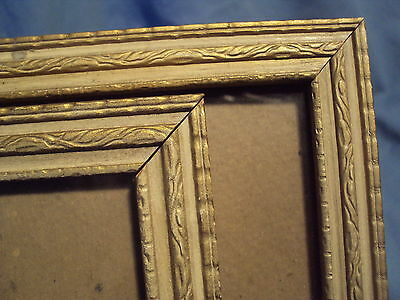 Pair of ANTIQUE pressed pattern WOODEN PICTURE FRAMES faux carved