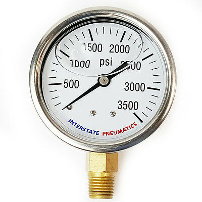 "Oil Filled Pressure Gauge 3500 PSI 2-1/2"" Dial 1/4"" NPT Bottom Mount G7022-3500"