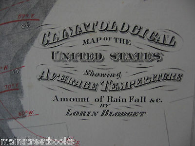 Antique Map c1860 CLIMATOLOGY United States Showing RAIN FALL & TEMPERATURES
