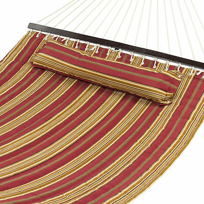 Hammock Quilted Fabric w/ Pillow Double Size Spreader Bar Heavy Duty Stylish