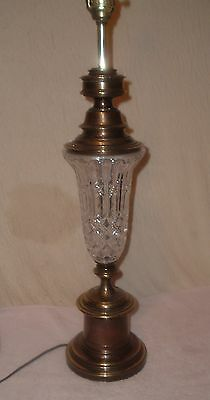 Vintage Solid Brass Crystal Pattern Glass Lamp Stars/Waffle Heavy 1 of 2