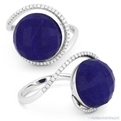 9.29ct Blue Lapis Lazuli Diamond Halo Right-Hand Cocktail Ring in 14k White Gold