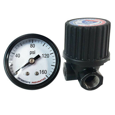 """1/4""""  In-Line Compact - Economy Air Regulator (Left to Right) w/ Gauge - WR1120G"""