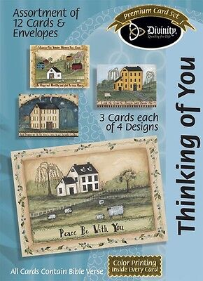 Thinking of You, Folk Art Homes Assortment of 12 Cards & Envelopes 7026
