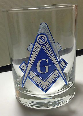 Masonic Drinking Glass, Blue And White Imprint, Printed On Both Sides