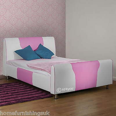 New - Hf4you Faux Leather 2 Tone Movie Bedstead - Single, Double, King + Colours