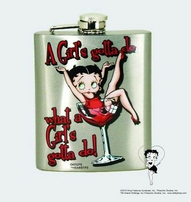 Betty Boop 7 oz. A Girl's Gotta Do Stainless Steel Flask NEW UNUSED