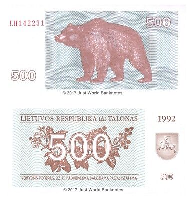 Lithuania 500 Talonas 1992 P-44 Mint UNC Uncirculated Banknotes