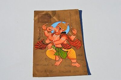 A Nice Old Rajasthan Miniature Painting Indian Postcard Of A Lord Ganesh No2