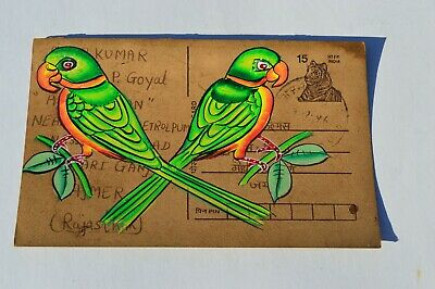 A Lovely Old Rajasthan Miniature Painted Indian Postcard Of Two Indian Birds No4