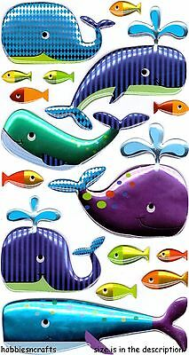 Ek Success Sticko Epoxy Stickers - Whale Fish Fishes - Happy Whales