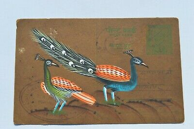 A Lovely Old Rajasthan Miniature Painted Indian Postcard  Of A Peacock No10