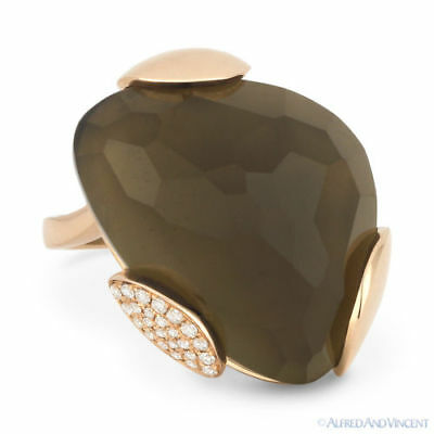 14.61 ct Fancy Checkerboard Smoky Topaz & Diamond Cocktail Ring in 14k Rose Gold