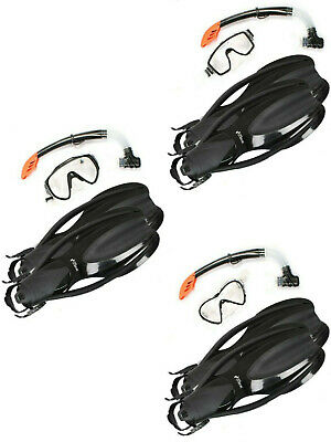 TBF Mask Snorkel OPEN HEEL Diving Fins 3PC Silicone Set Black