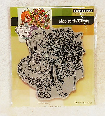 Penny Black Rubber Stamp Slapstick Cling Thanks A Bunch Girl Flowers So CUTE!