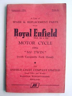 ROYAL ENFIELD 500 TWIN - Motorcycle Spares List - 1954 - #M-954