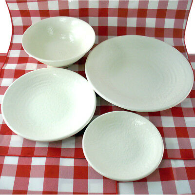 24 Pc Set Of Textured Melamine Restaurant Bowls, Salad, Dessert, & Dinner Plates