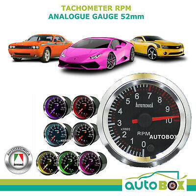 TACHOMETER 52mm Analogue Gauge by Autotecnica 7 Colours 12v guage Tacho