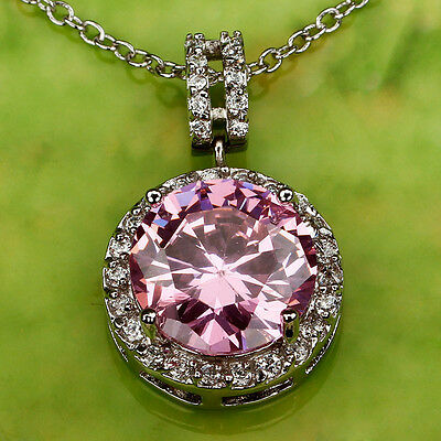 Pink & White Sapphire Gemstones Free Silver Chain Necklace Pendant Free Shipping