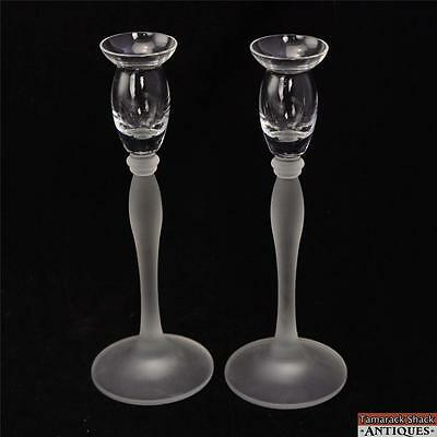 Pair of Elegant Glass Candlestick Holders w/Frosted Stem & Clear Top Vintage