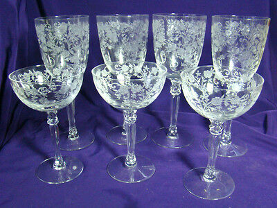 7 FOSTORIA ETCHED BUTTERCUP 4 WATER & 3 WINE GOBLETS