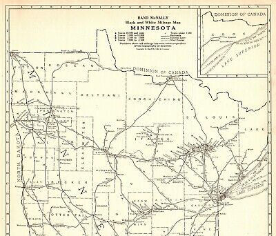 1921 Antique MINNESOTA Map Uncommon RARE SIZE Map of Minnesota Vintage Atlas Map