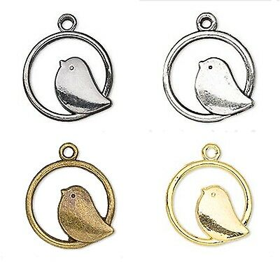 Bird Charm Pendant in Hoop Gunmetal Antiqued Silver Brass Gold Lot of 10